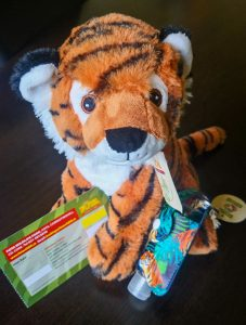 tiger teddy with tiger themed hand sanitiser holder and fota wildlife park ticket